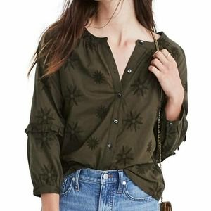 Madewell Embroidered Bubble Sleeve Shirt Green